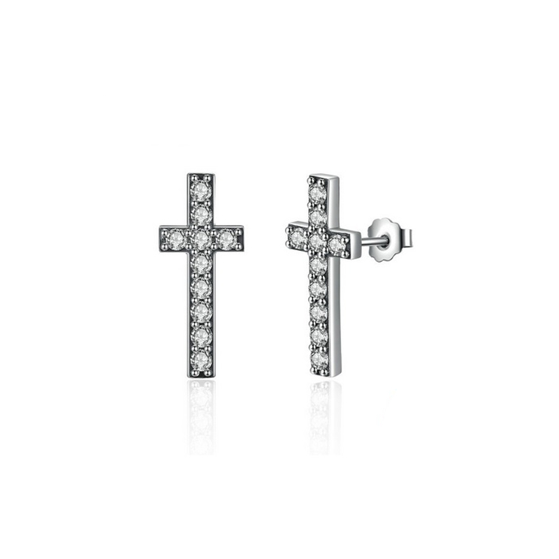 Cross Stud Earrings Cubic Zirconia 925 Sterling Silver