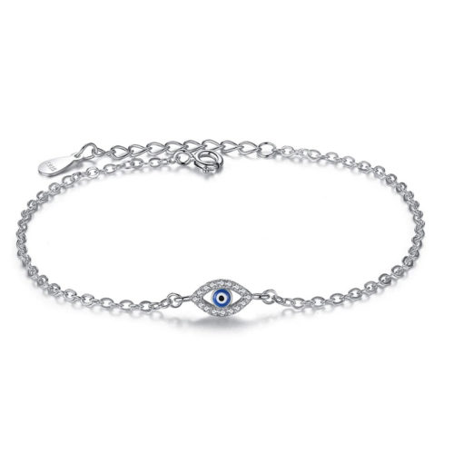 Evil Eye Silver Bracelet Adjustable CZ Enamel