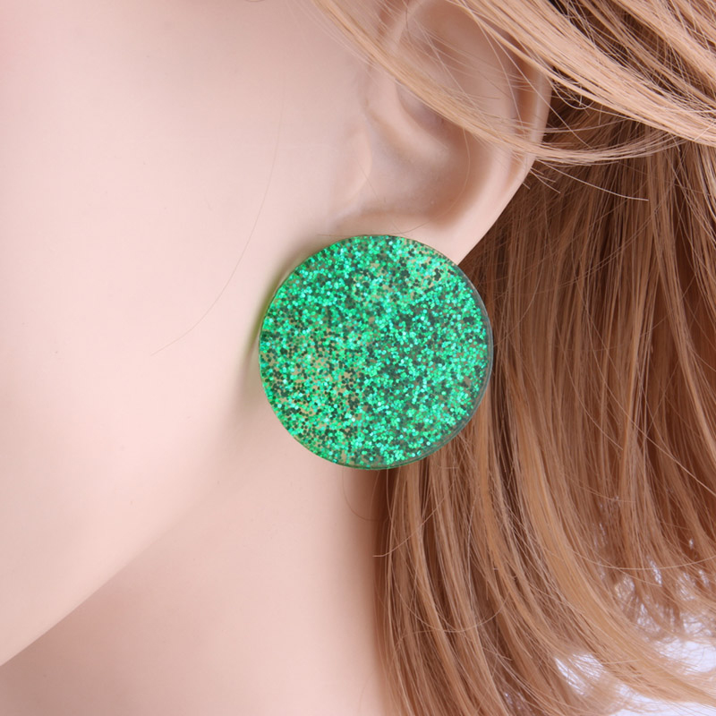green-glittering-circle-earrings-resin-stud