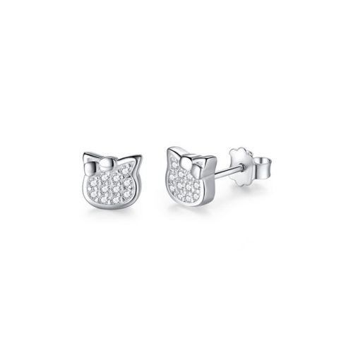 Lovely Cat Earrings Cubic Zirconia 925 Sterling Silver