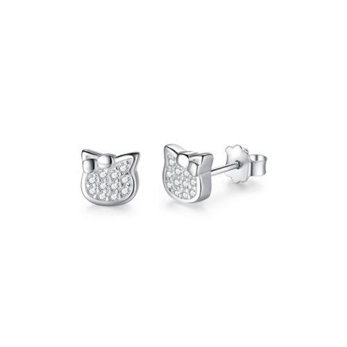 Lovely Cat Earrings Cubic Zirconia 925 Sterling Silver