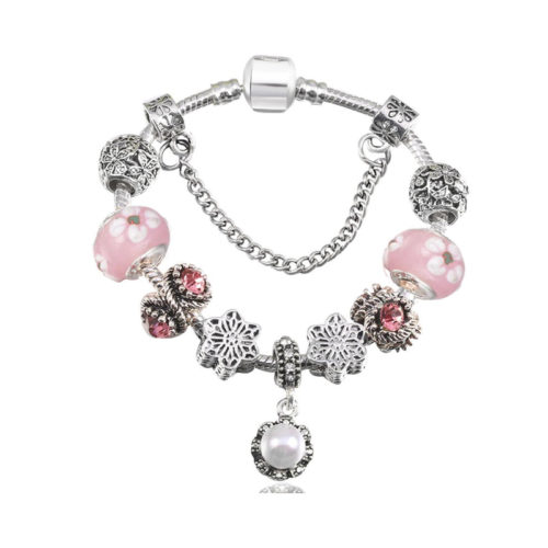 Pearl Charm Bracelet Glass Crystal CZ Copper Beads