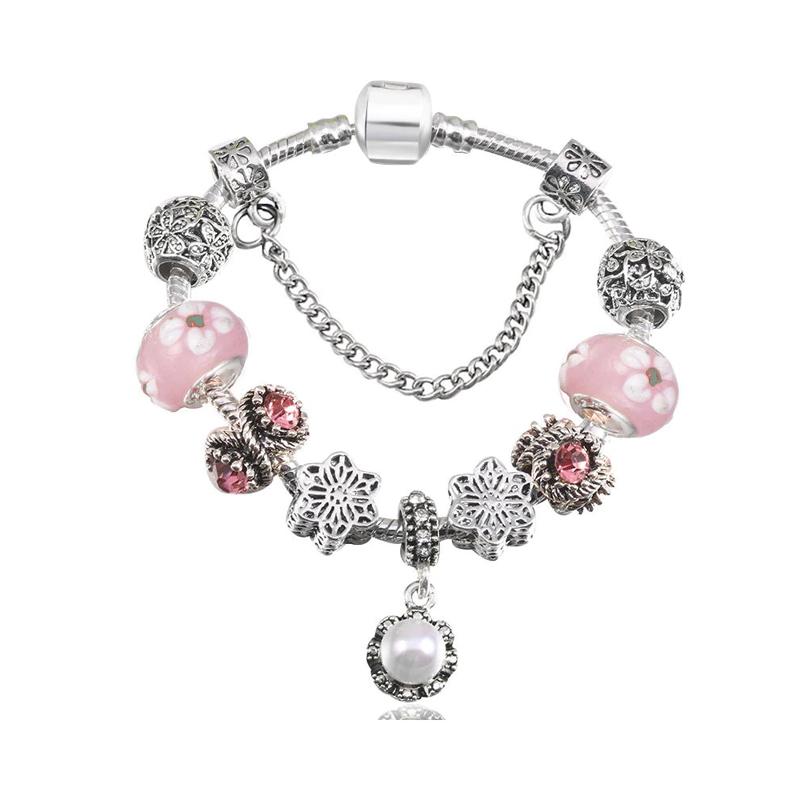 Pearl Charm Bracelet Glass Crystal CZ Copper Beads