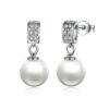 Pearl Drop Earrings CZ 925 Sterling Silver