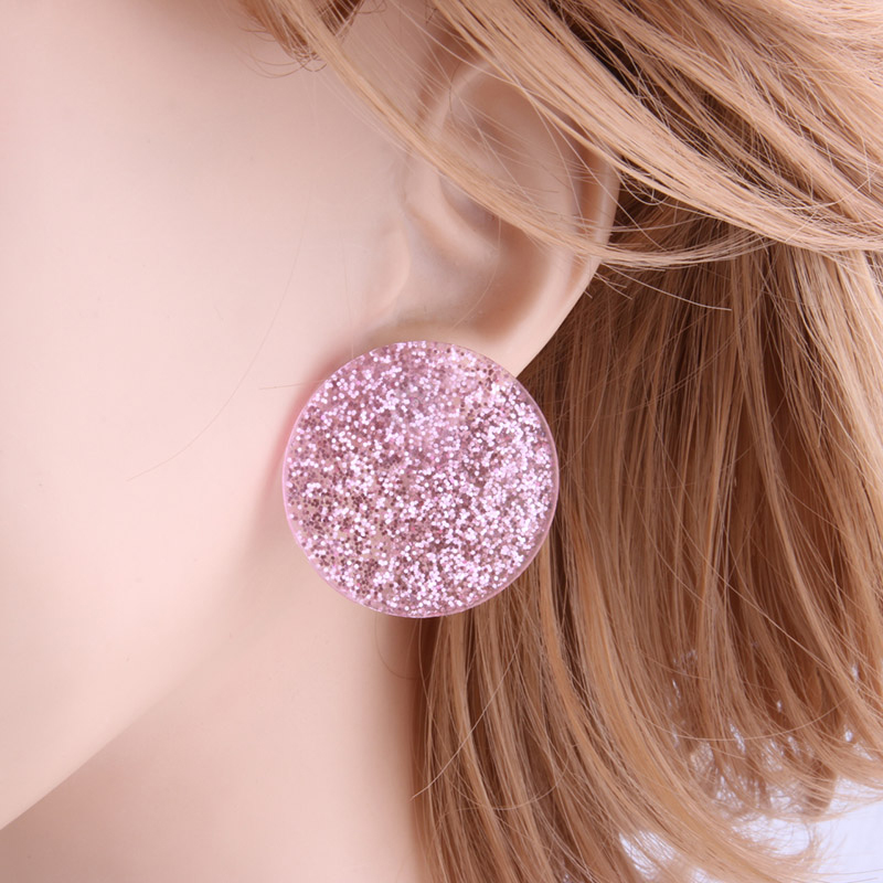pink-glittering-circle-earrings-resin-stud