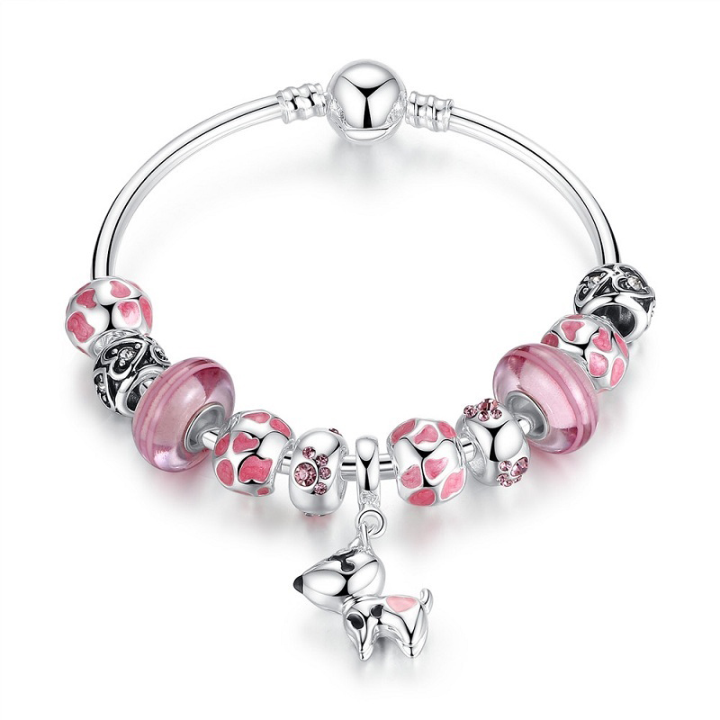 Puppy Charm Bracelet Murano CZ Glass Enamel Copper