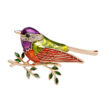 Sparrow Brooch Enamel CZ Dress Decorating Jewelry Pin