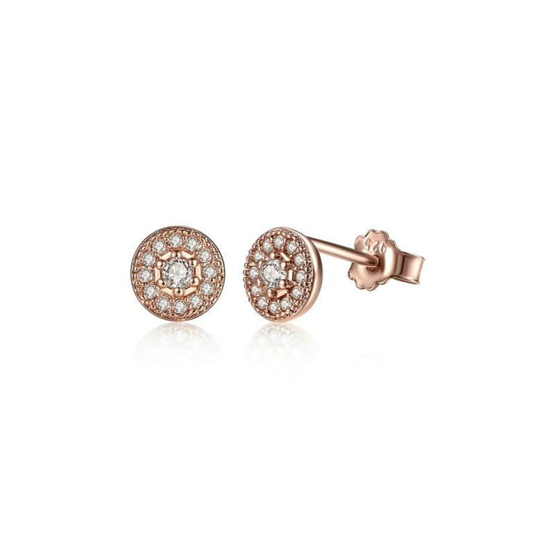 Silver Round Stud Earrings CZ Rose Gold Plated