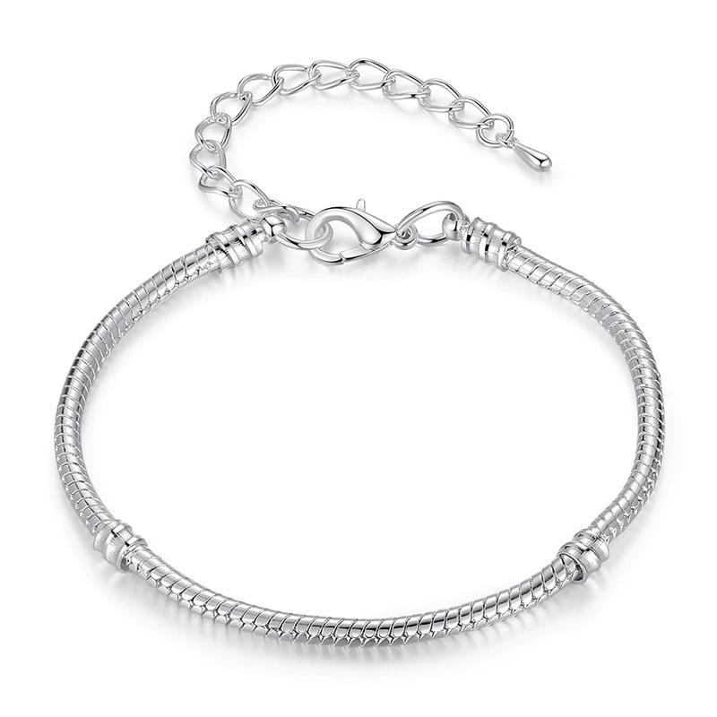 Snake Chain Silver Bracelet Zinc Alloy Platinum Plated
