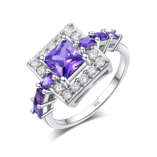 Square Amethyst Ring 925 Sterling Silver Cubic Zirconia