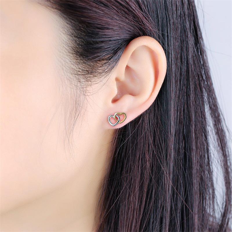 two-hearts-925-sterling-silver-18kgp-stud-earrings-EAR-13715