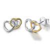 Two Hearts Stud Earrings 925 Sterling Silver 18KGP
