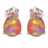 Orange Fire Opal Earrings Cubic Zirconia S925