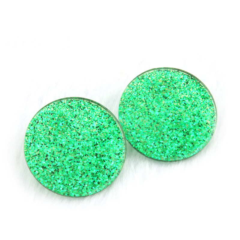 glittering-circle-earrings-resin-stud-green