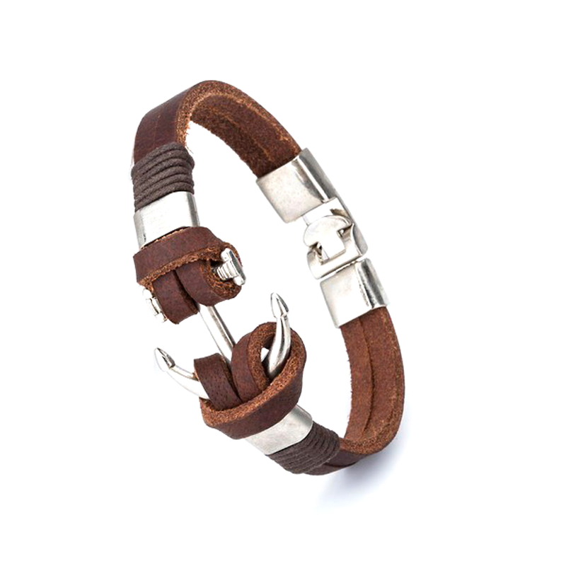 anchor-leather-bracelet-handmade-vintage-style-jewelry-brown