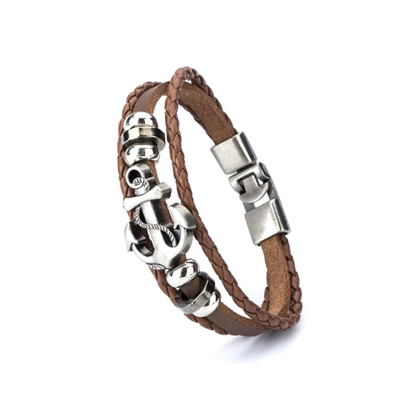 antique-anchor-leather-bracelet-layered-braided-charm-brown