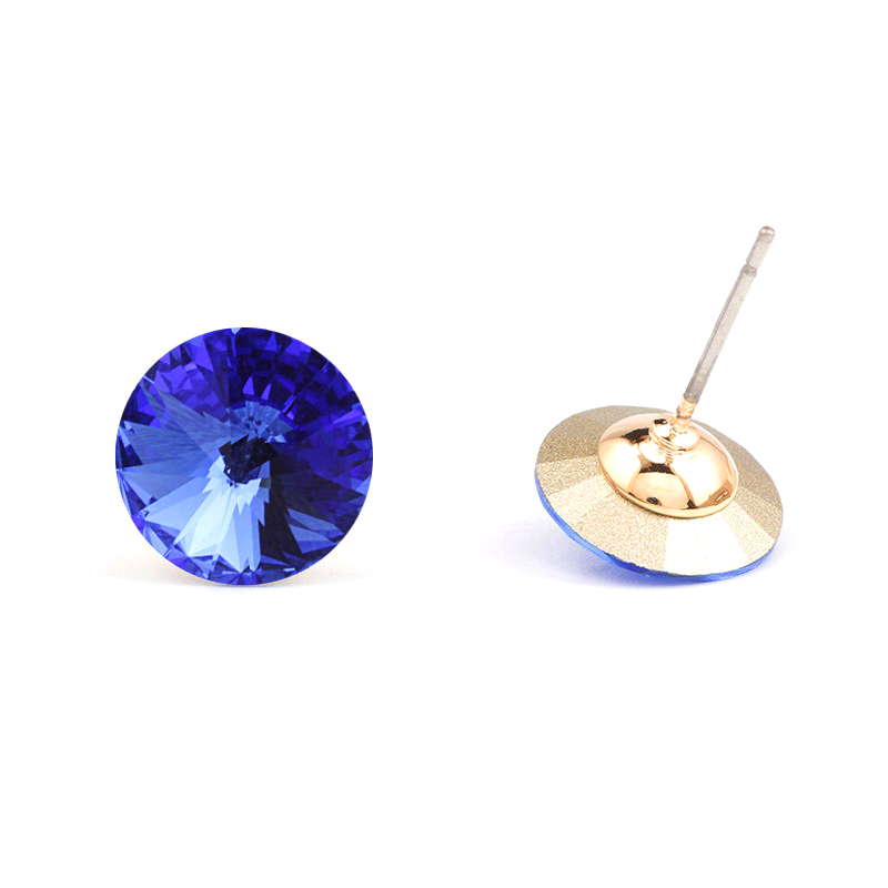 Round Stud Earrings Cubic Zirconia Gold Plated