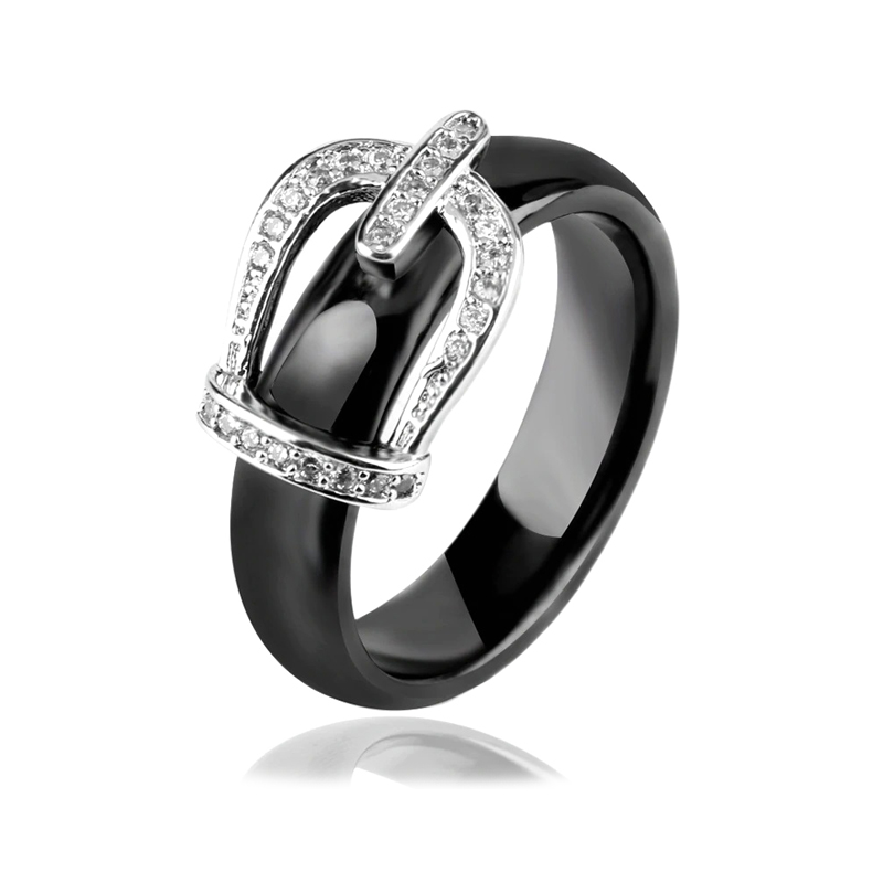 Ceramic Crown Ring Clear Cubic Zirconia Stainless Steel