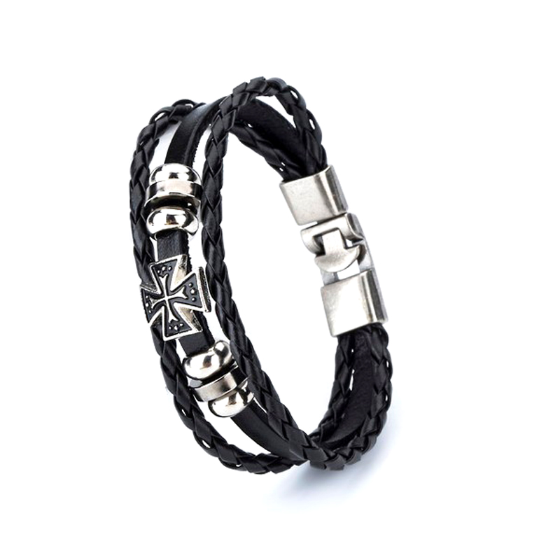 Cross Leather Bracelet Layered Braided Charm