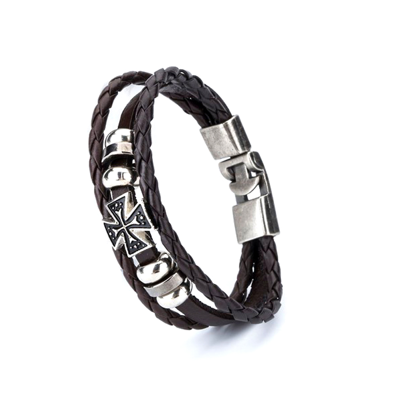 cross-leather-bracelet-layered-braided-charm-brown