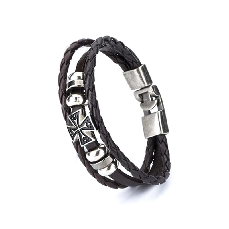 cross-leather-bracelet-layered-braided-charm-chocolate