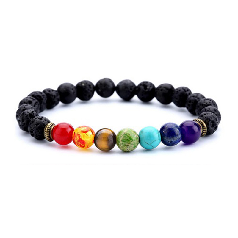 Multi-Stone Chakra Bracelet Stretch Beaded Handmade