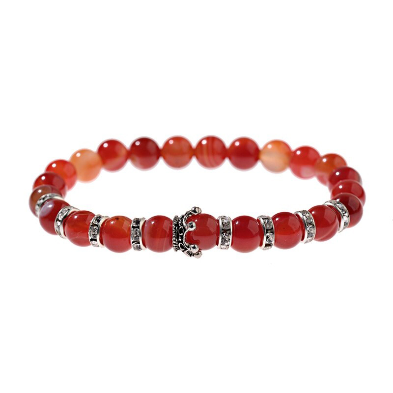 Orange Agate Crown Bracelet CZ Handmade Imperial