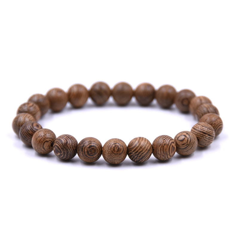 Wooden Bead Stretch Bracelet Handmade Elastic