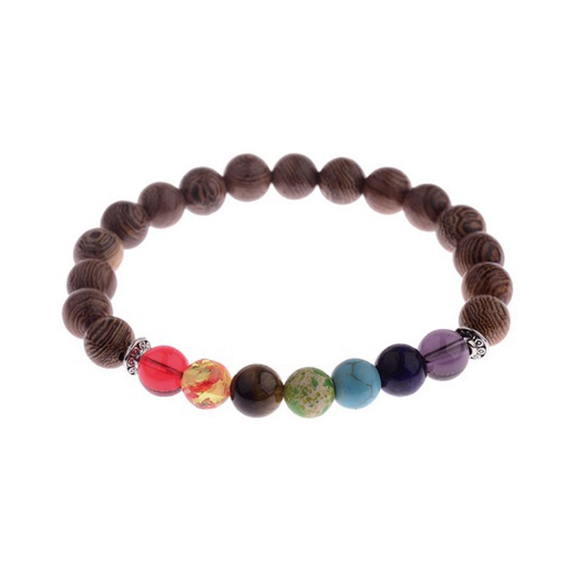 Wooden Chakra Bracelet Handmade Stretch Beaded