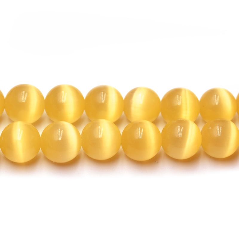 Yellow Cat Eye Stone Jewelry Making Beads
