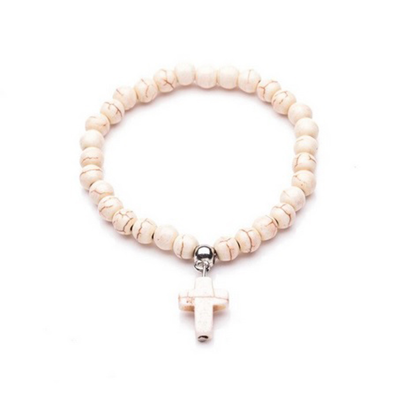 6mm-beads-cross-bracelet-howlite-stretch-white-BR-14437-14442