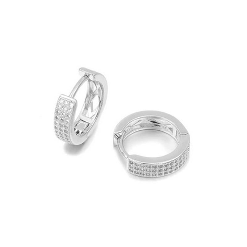 925 CZ Hoop Earrings Party Wedding Jewelry
