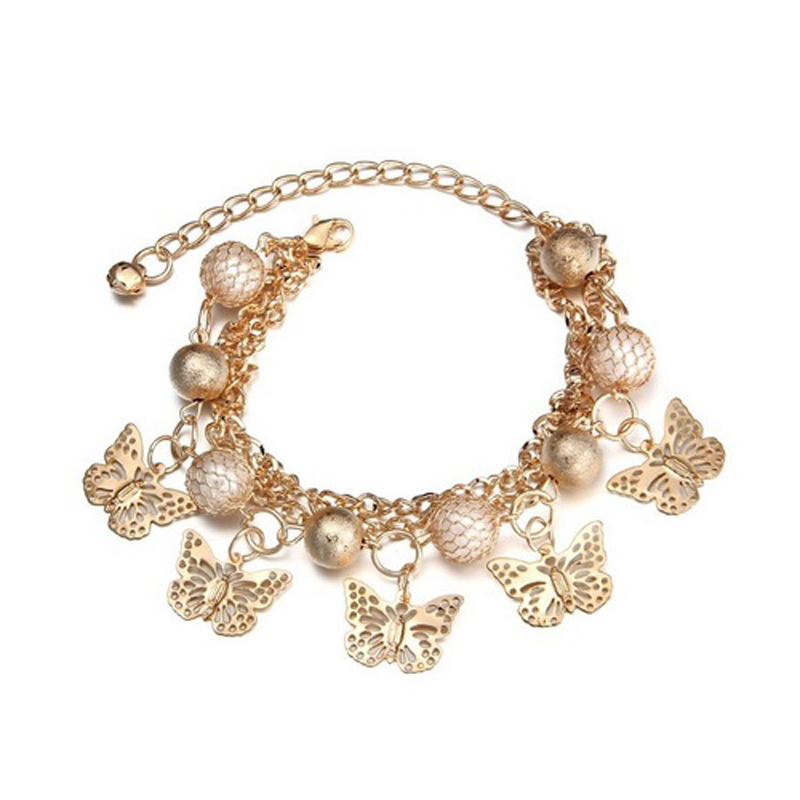 Five Butterflies Bracelet Chain Simulated Pearls