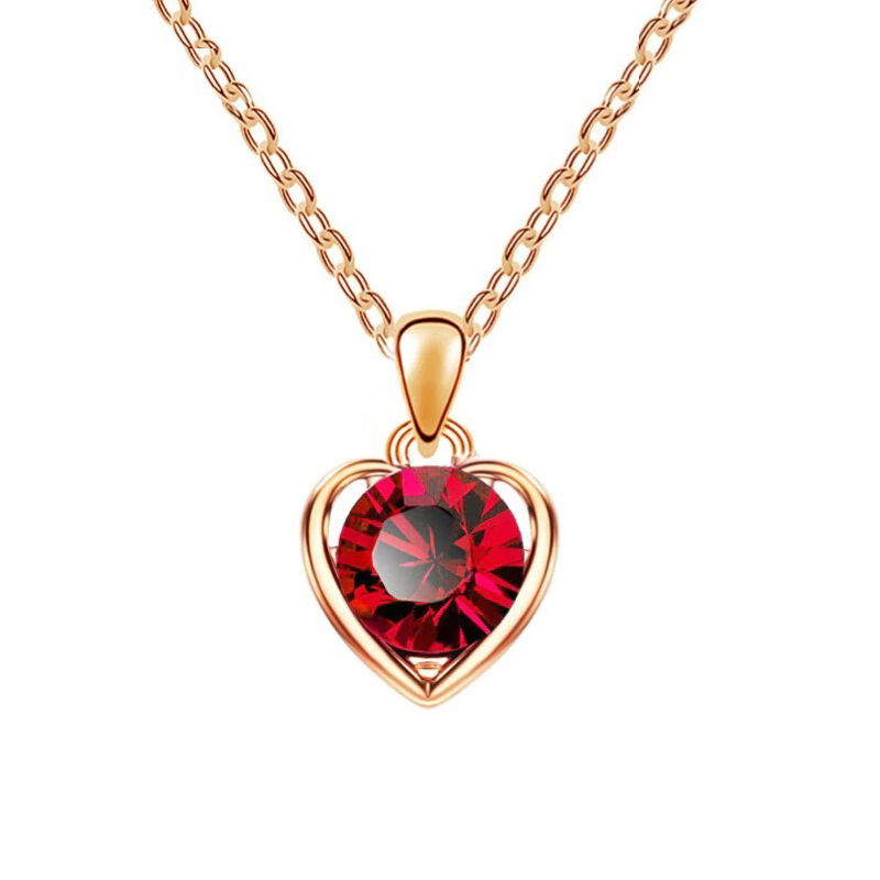 Heart Crystal Pendant Necklace Valentine Love Jewelry