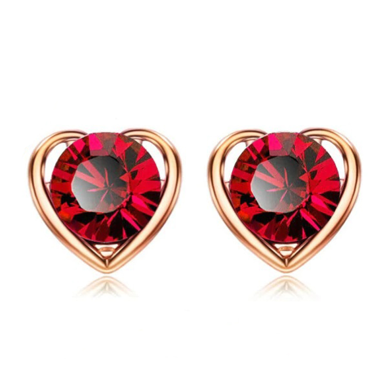 Heart Crystal Stud Earrings Valentine Love Jewelry