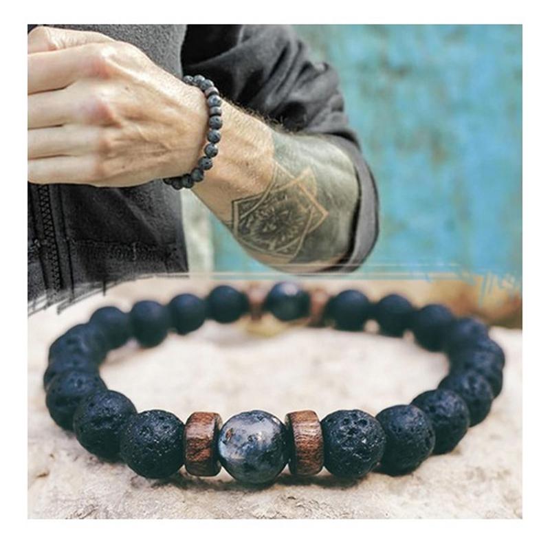 moonstone-lava-onyx-wood-beads-ancient-style-bracelet-BR-14567