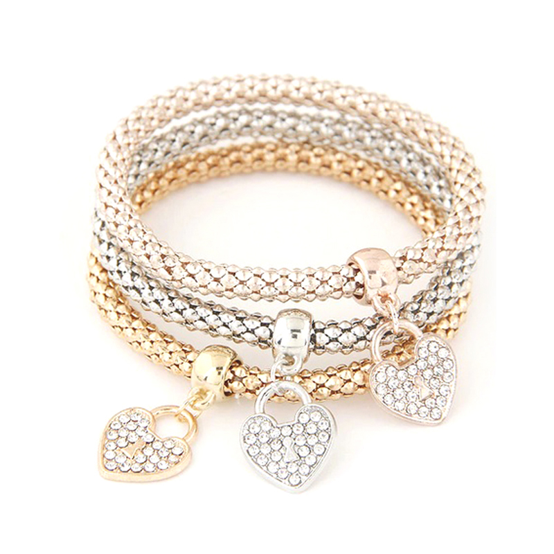 Multi-Layer Charm Bracelet Rhinestone Elastic Bangle