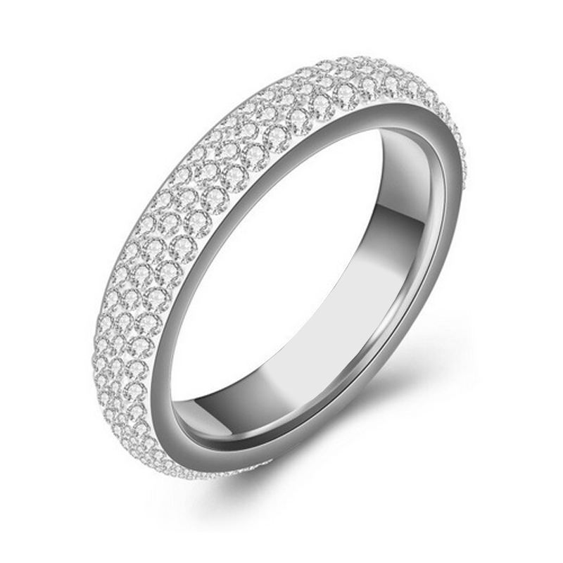 Stainless Steel Crystal Ring Band Wedding Jewelry