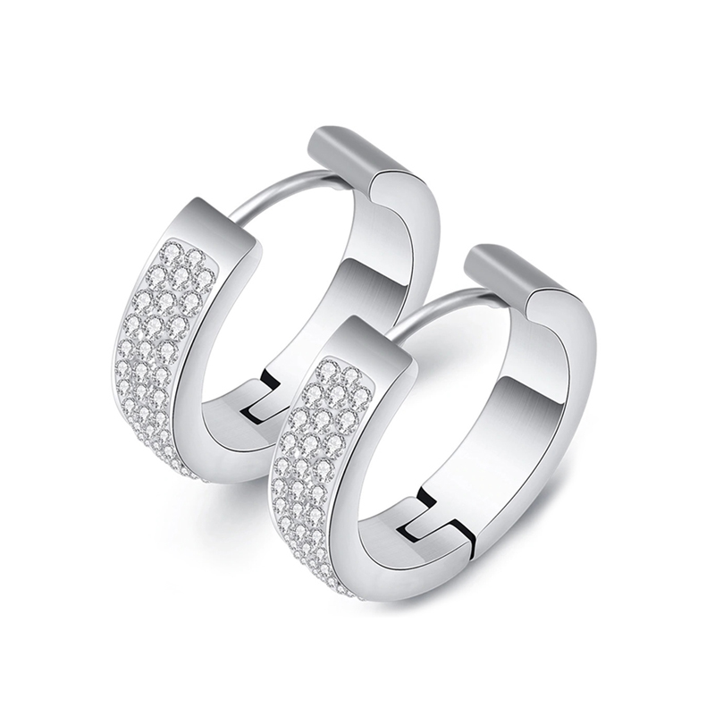 Stainless Steel Hoop Earrings CZ High Polished Finish