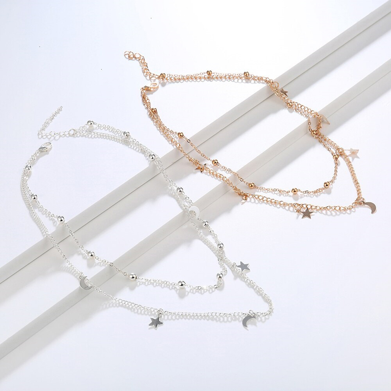 stars-moons-choker-vintage-double-layer-necklace-silver-gold-NECK-14495