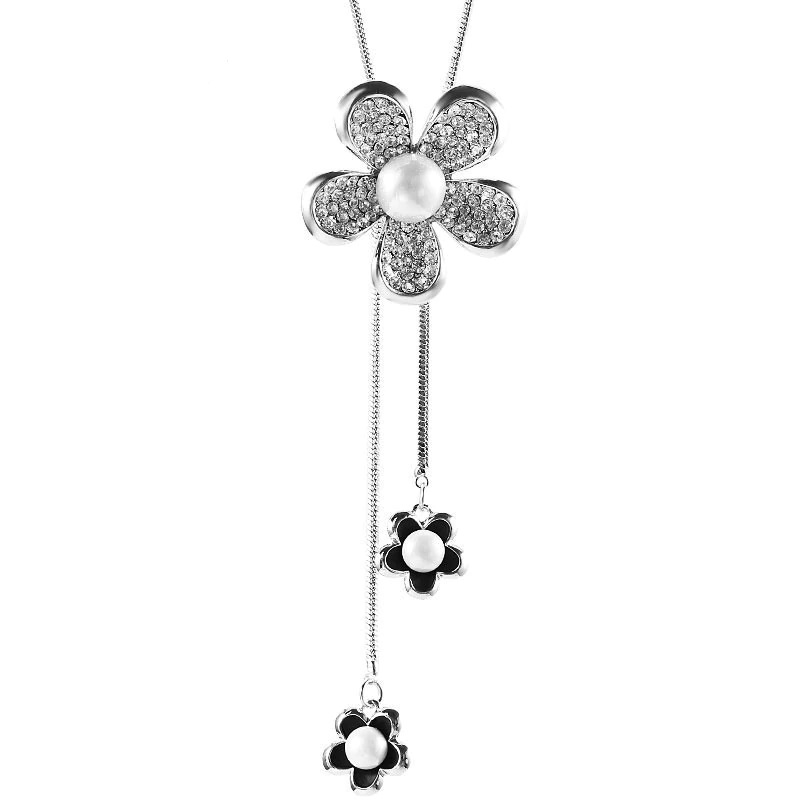 Statement Flower Pendant Necklace Cubic Zirconia Pearl