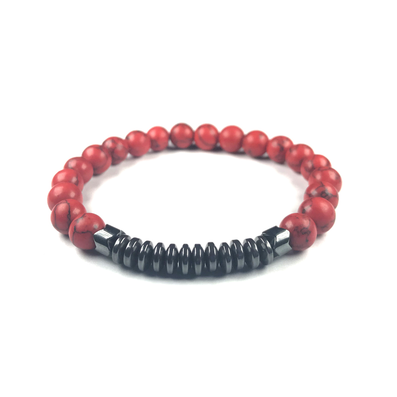 Howlite Hematite Stone Bracelet Beaded Stretch