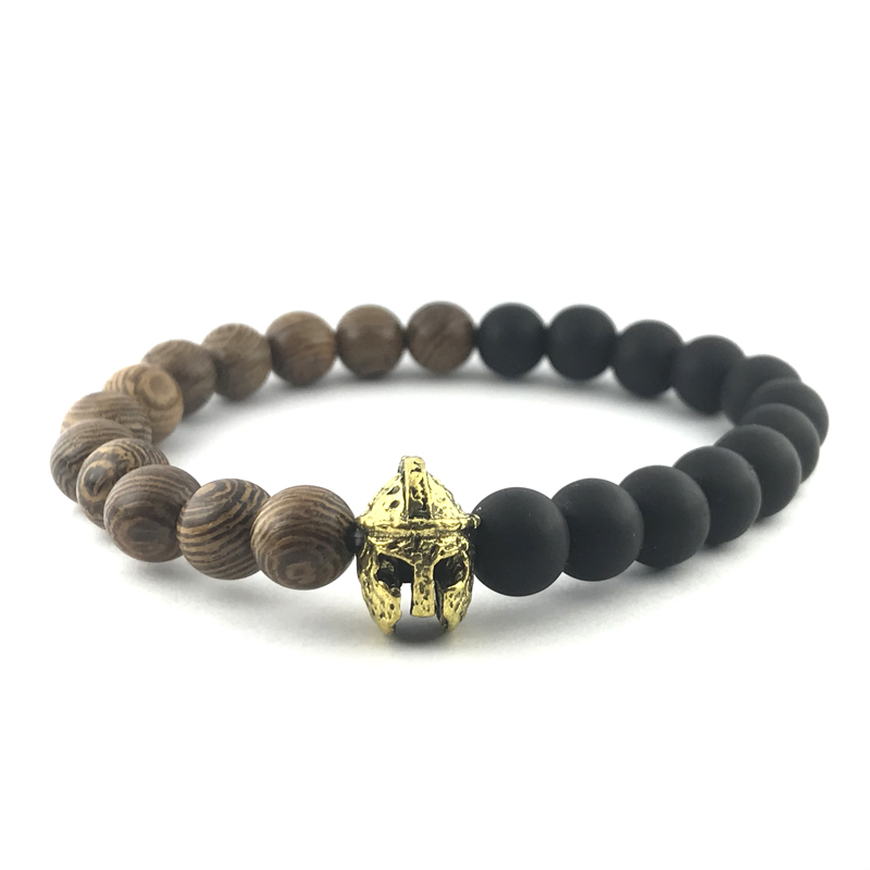 Knight Helmet Bracelet Onyx Wood Beaded Stretch