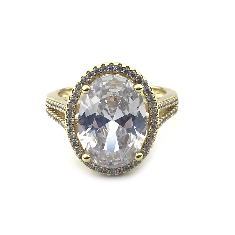 Oval CZ Engagement Ring Vintage Style Jewelry