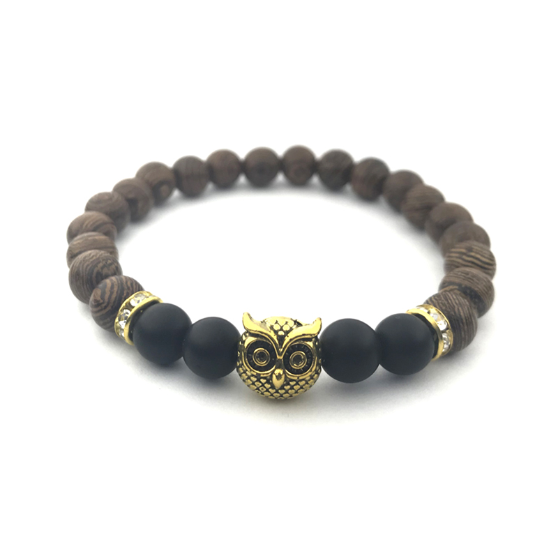 Owl Beaded Bracelet Wood Onyx Cubic Zirconia