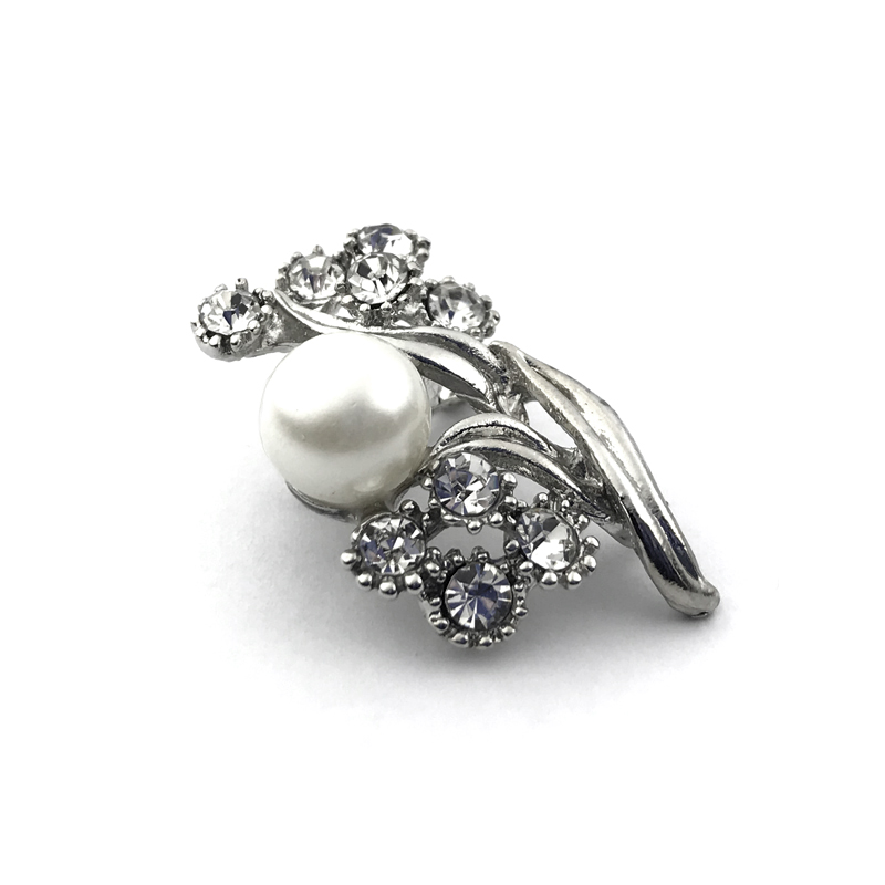 Pearl CZ Flower Brooch Dress Decorating Jewelry