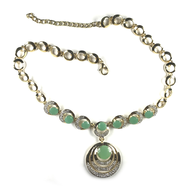 resin-cubic-zirconia-circle-chain-elegant-necklace-green-NECK-14649-14651