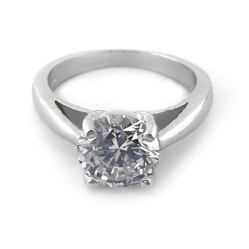 Solitaire Cubic Zirconia Ring 925 Sterling Silver