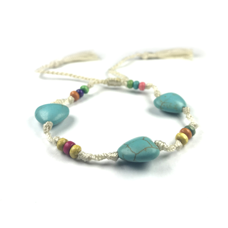 Turquoise Hearts Bohemian Bracelet Wood Beaded
