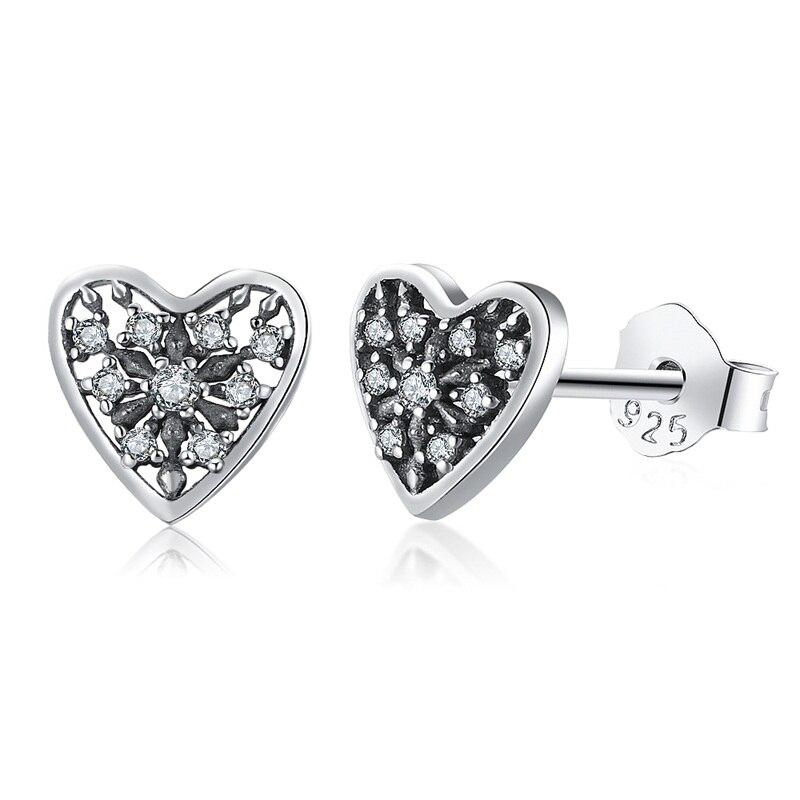 925 Heart Stud Earrings CZ Vintage Lovely Jewelry